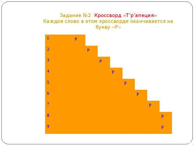 Задание №2 Кроссворд «Т'р'апеция»Каждое слово в этом кроссворде оканчивается на букву «Р»