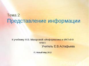 Тема 2 Представление информации К учебнику Н.В. Макаровой «Информатика и ИКТ»8-9