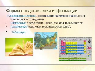 Формы представления информации 1.Знаковая письменная, состоящих из различных зна