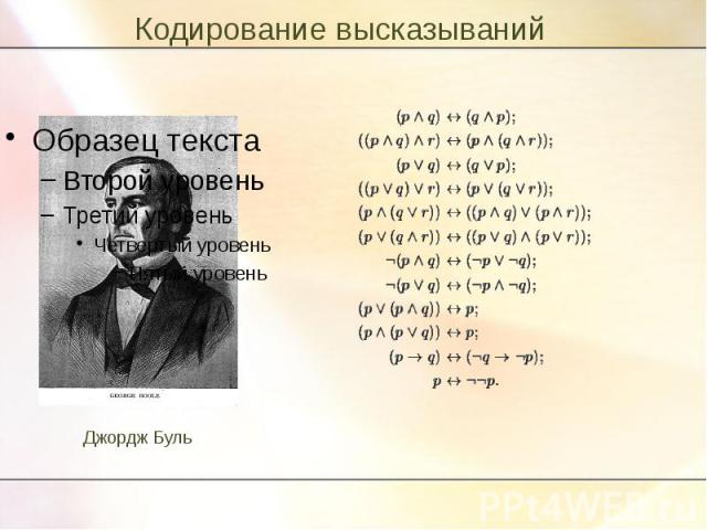 Кодирование высказываний Джордж Буль