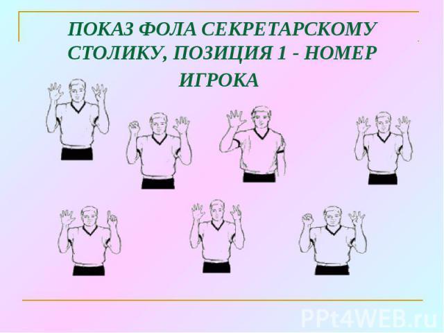 ПОКАЗ ФОЛА СЕКРЕТАРСКОМУ СТОЛИКУ, ПОЗИЦИЯ 1 - НОМЕР ИГРОКА