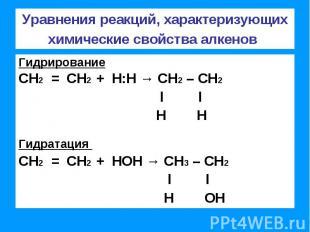 Уравнения реакций, характеризующих химические свойства алкенов ГидрированиеСН2 =