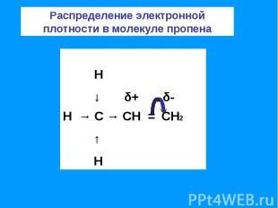 Распределение электронной плотности в молекуле пропена
