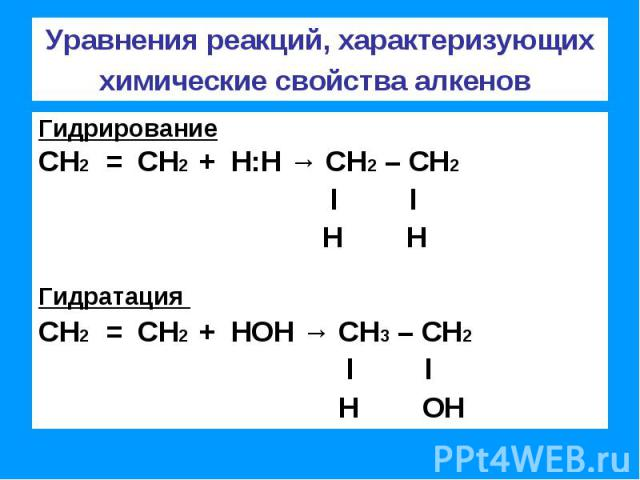 Уравнения реакций, характеризующих химические свойства алкенов ГидрированиеСН2 = СН2 + Н:Н → СН2 – СН2 l l Н НГидратация СН2 = СН2 + НОН → СН3 – СН2 l l Н ОН