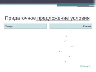Придаточное предложение условияВопрос ЕслиЕсли быЕсли…тоРазКогда (= если)Коли Ко