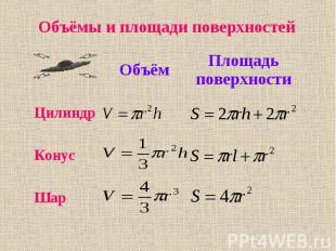 Объёмы и площади поверхностей