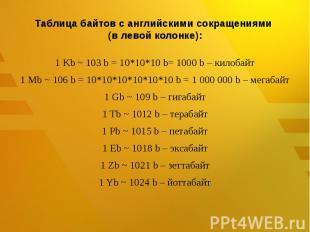 Таблица байтов с английскими сокращениями (в левой колонке): 1 Kb ~ 103b = 10*1