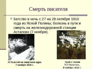 Бегство в ночь с 27 на 28 октября 1910 года из Ясной Поляны; болезнь в пути и см