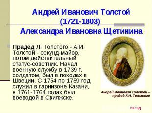 Андрей Иванович Толстой (1721-1803) Александра Ивановна Щетинина Прадед Л. Толст