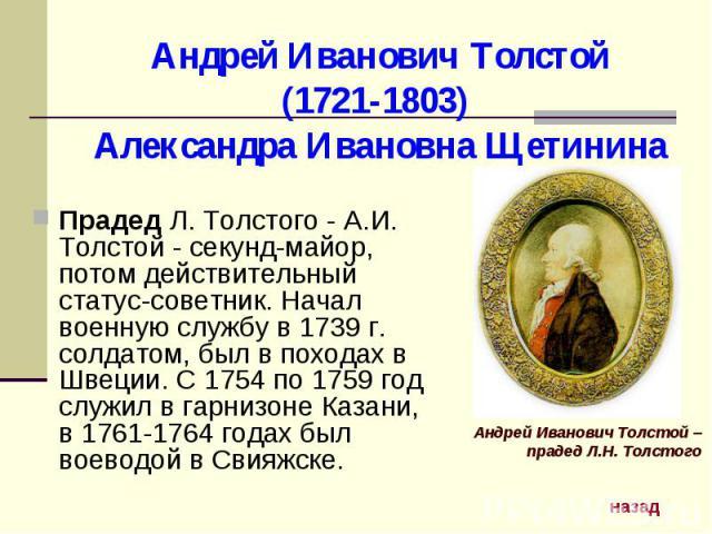 Андрей Иванович Толстой (1721-1803) Александра Ивановна Щетинина Прадед Л. Толстого - А.И. Толстой - секунд-майор, потом действительный статус-советник. Начал военную службу в 1739 г. солдатом, был в походах в Швеции. С 1754 по 1759 год служил в гар…