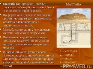 Мастаба (по-арабски – скамья) служила гробницей для знати и была предшественнице