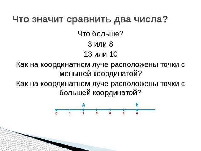 Что значит сравнить два числа?Что больше?3 или 813 или 10Как на координатном луче расположены точки с меньшей координатой?Как на координатном луче расположены точки с большей координатой?