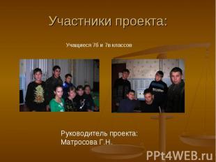 Участники проекта: Учащиеся 7б и 7в классов Руководитель проекта: Матросова Г.Н.
