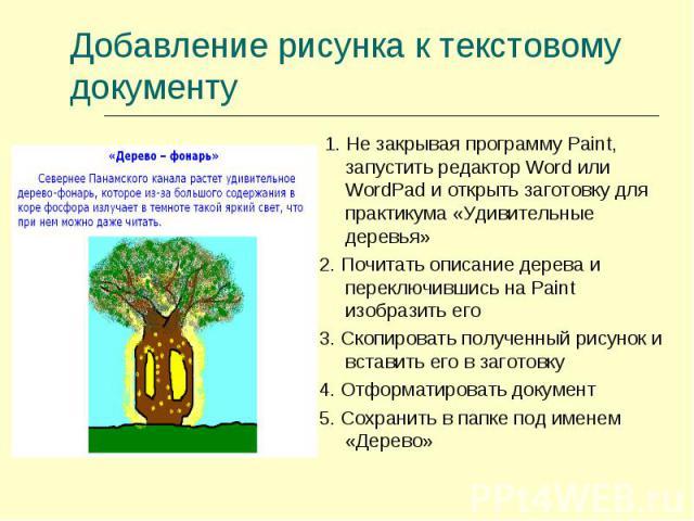 Добавление рисунка к текстовому документу 1. Не закрывая программу Paint, запустить редактор Word или WordPad и открыть заготовку для практикума «Удивительные деревья»2. Почитать описание дерева и переключившись на Paint изобразить его3. Скопировать…