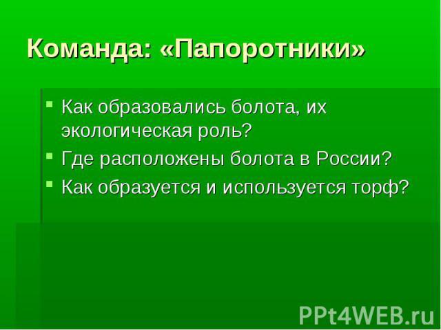 Команда: «Папоротники»Как образовались болота, их экологическая роль?Где расположены болота в России?Как образуется и используется торф?