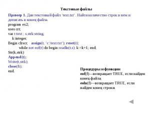 Пример 1. Дан текстовый файл 'text.txt'. Найти количество строк в нем и дописать