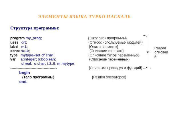 Элементы языка Турбо Паскаль Структура программы:program my_prog; {Заголовок программы}uses crt; {Список используемых модулей}label m1; {Описание меток}const n=10; {Описание констант}type mytype=set of char; {Описание типов переменных}var a:integer;…