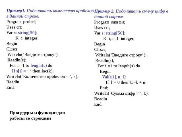 Пример1. Подсчитать количество пробелов в данной строке.Program probel;Uses crt;Var s: string[50]; K, i: integer;BeginClrscr; Writeln('Введите строку'); Readln(s); For i:=1 to length(s) do If s[i] = ' ' then inc(k);Writeln('Количество пробелов = ', …