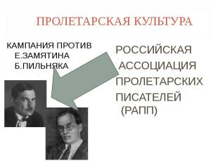 ПРОЛЕТАРСКАЯ КУЛЬТУРА КАМПАНИЯ ПРОТИВ Е.ЗАМЯТИНА Б.ПИЛЬНЯКА РОССИЙСКАЯ АССОЦИАЦИ