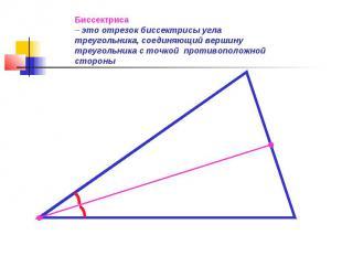 Биссектриса– это отрезок биссектрисы угла треугольника, соединяющий вершину треу