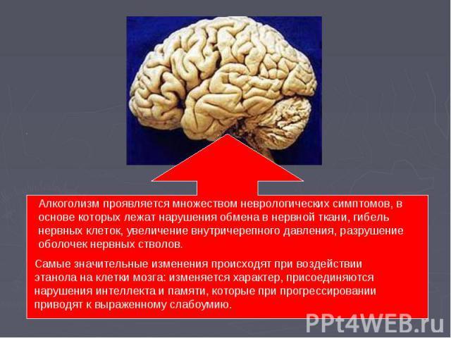 Алкоголизм проявляется множеством неврологических симптомов, в основе которых лежат нарушения обмена в нервной ткани, гибель нервных клеток, увеличение внутричерепного давления, разрушение оболочек нервных стволов. Самые значительные изменения проис…