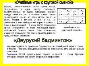 «Учебные игры с круговой сменой» Игроки, расположенные около одной сетки, объеди