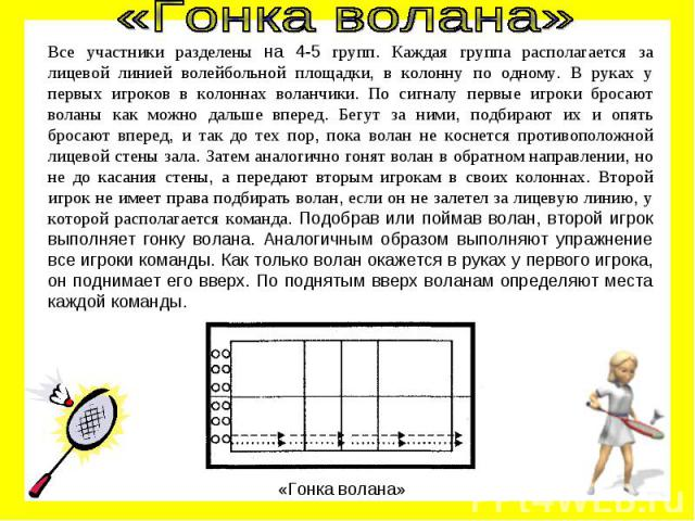 «Гонка волана» Все участники разделены на 4-5 групп. Каждая группа располагается за лицевой линией волейбольной площадки, в колонну по одному. В руках у первых игроков в колоннах воланчики. По сигналу первые игроки бросают воланы как можно дальше вп…