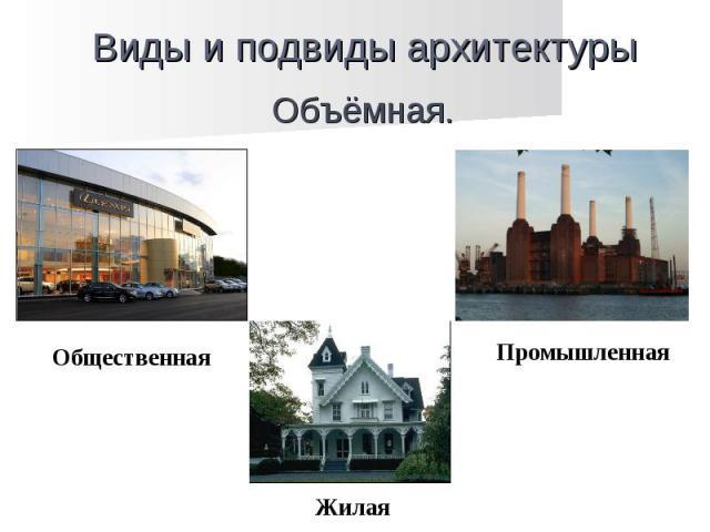 Виды и подвиды архитектуры Объёмная. Общественная Жилая Промышленная