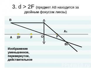 3. d > 2F (предмет АВ находится за двойным фокусом линзы) Изображениеуменьшен