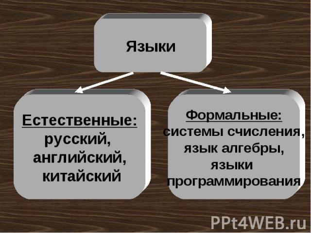 Языки Естественные:русский, английский, китайский Формальные:системы счисления,язык алгебры,языки программирования