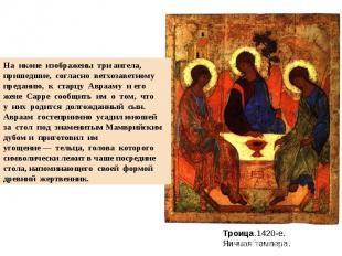 На иконе изображены три ангела, пришедшие, согласно ветхозаветномупреданию