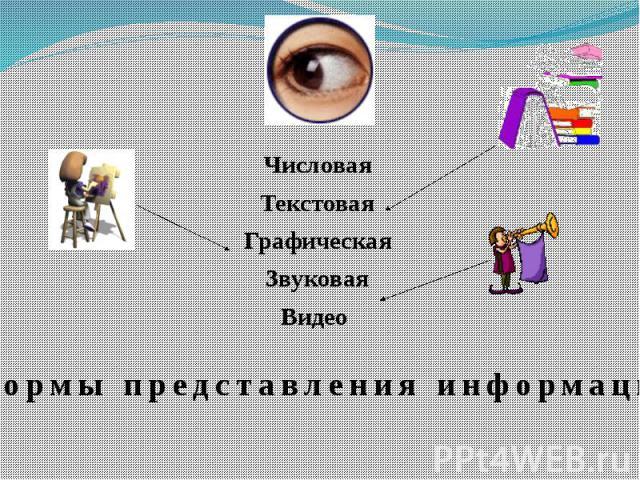 ЧисловаяТекстоваяГрафическаяЗвуковаяВидео Формы представления информации