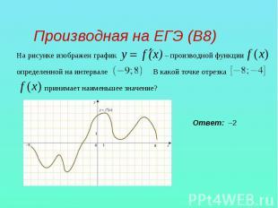 Производная на ЕГЭ (В8) На рисунке изображен график – производной функции опреде