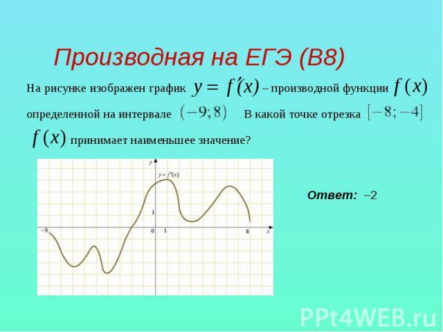 Производная на ЕГЭ (В8) На рисунке изображен график – производной функции определенной на интервале . В какой точке отрезка принимает наименьшее значение?