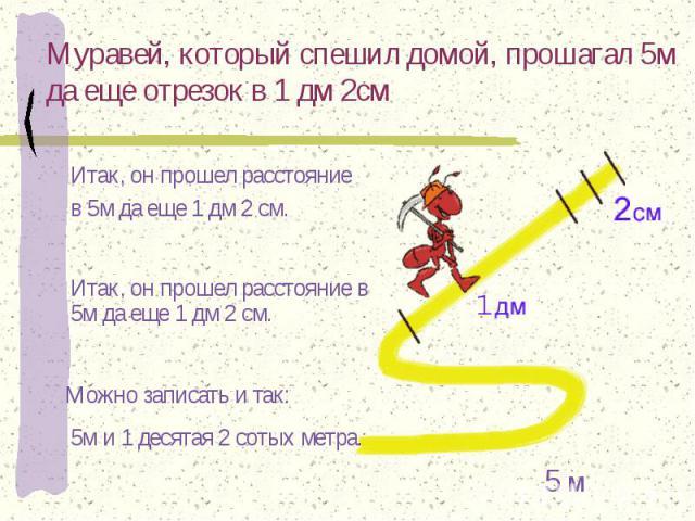 Муравей, который спешил домой, прошагал 5м да еще отрезок в 1 дм 2см Итак, он прошел расстояние в 5м да еще 1 дм 2 см. Итак, он прошел расстояние в 5м да еще 1 дм 2 см. Можно записать и так: 5м и 1 десятая 2 сотых метра.