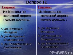 1 вариант Из Москвы по железной дороге нельзя доехать:А. до Якутска и МагаданаБ.