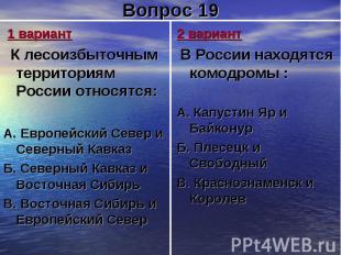 1 вариант К лесоизбыточным территориям России относятся:А. Европейский Север и С