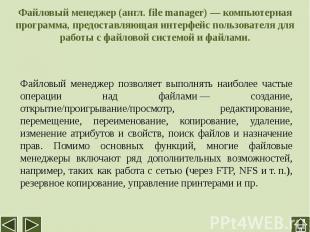 Файловый менеджер (англ. file manager)— компьютерная программа, предоставляющая