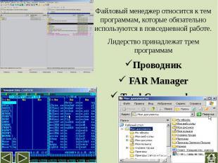 Файловый менеджер относится к тем программам, которые обязательно используются в