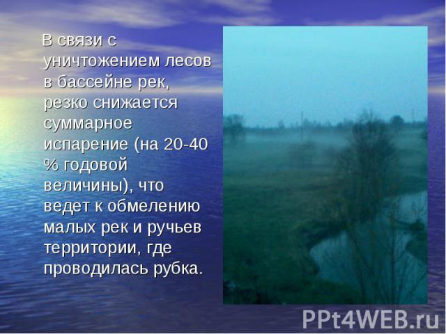 В связи с уничтожением лесов в бассейне рек, резко снижается суммарное испарение (на 20-40 % годовой величины), что ведет к обмелению малых рек и ручьев территории, где проводилась рубка.
