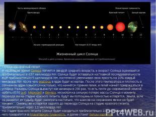 Солнце как красный гигант В настоящее времяСолнцеявляется звездой среднего воз