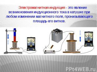 Электромагнитная индукция - это явление возникновения индукционного тока в катуш