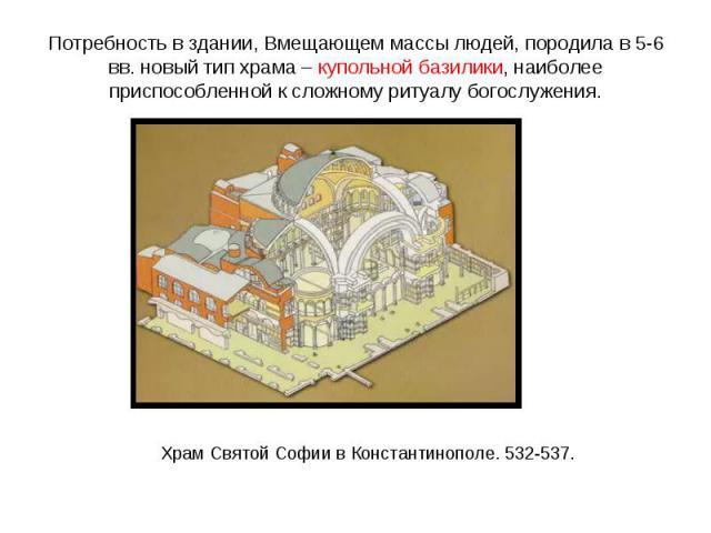 Потребность в здании, Вмещающем массы людей, породила в 5-6 вв. новый тип храма – купольной базилики, наиболее приспособленной к сложному ритуалу богослужения.