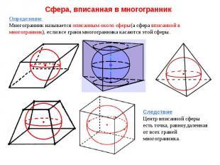 Сфера, вписанная в многогранник Определение Многогранник называется описанным ок