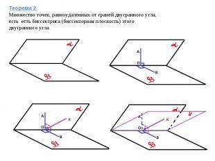 Теорема 2 Множество точек, равноудаленных от граней двугранного угла, есть есть