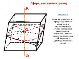 Сфера, вписанная в призму Теорема 4В призму можно вписать сферу тогда и только т