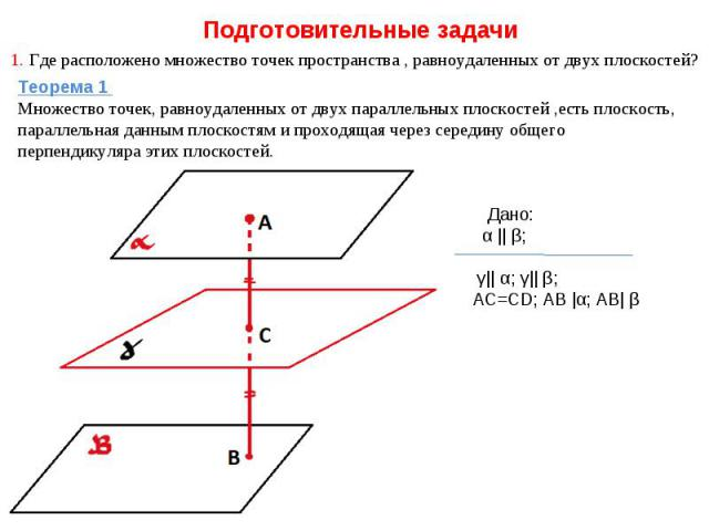 Подготовительные задачи 1. Где расположено множество точек пространства , равноудаленных от двух плоскостей? Теорема 1 Множество точек, равноудаленных от двух параллельных плоскостей ,есть плоскость, параллельная данным плоскостям и проходящая через…