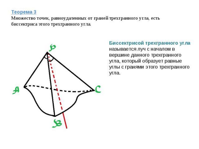 Теорема 3Множество точек, равноудаленных от граней трехгранного угла, есть биссектриса этого трехгранного угла. Биссектрисой трехгранного угла называется луч с началом в вершине данного трехгранного угла, который образует равные углы с гранями этого…