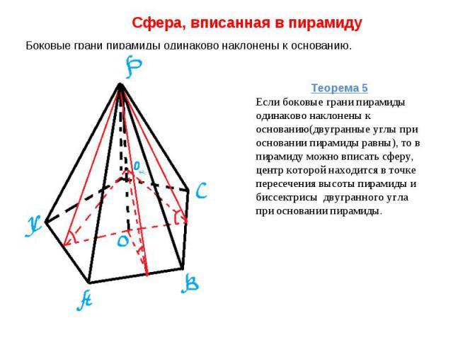 Сфера, вписанная в пирамиду Боковые грани пирамиды одинаково наклонены к основанию. Теорема 5Если боковые грани пирамиды одинаково наклонены к основанию(двугранные углы при основании пирамиды равны), то в пирамиду можно вписать сферу, центр которой …