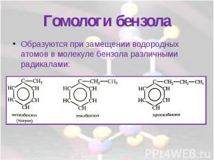 Гомологи бензолаОбразуются при замещении водородных атомов в молекуле бензола ра
